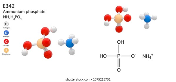 Food additive E342. Ammonium phosphate is a white solid with a weak odor of ammonia. Molecular formula: H6NO4P or NH4H2PO4. 3D illustration. Isolated on white background.