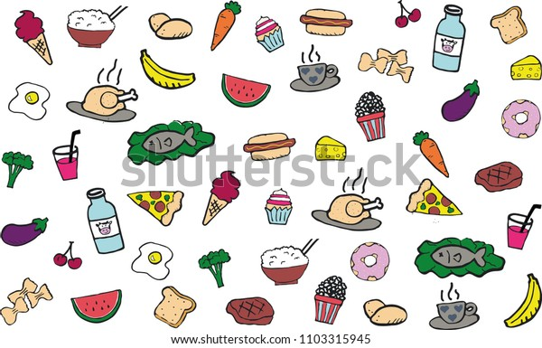 Food & beverages doodle. Mixed. Rice, potatoes, pasta, fruits, vegetables, meat, fish, snacks, cheese, drinks, desserts, bread, eggs.