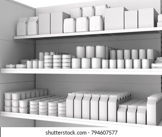 Food in blank packages on store shelves. 3d illustration