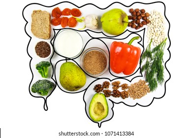 Food for bowel Health. Kefir, Bifidobacteria, greens, apples, fiber, dried fruits, nuts, pepper, whole bread, cereals, broccoli, flax seed isolate on a white background