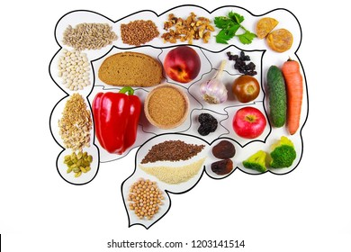 Food for bowel Health. Kefir, Bifidobacteria, greens, apples, fiber, dried fruits, nuts, pepper, whole bread, cereals, broccoli, chickpeas, flax seed. Isolate on a white background