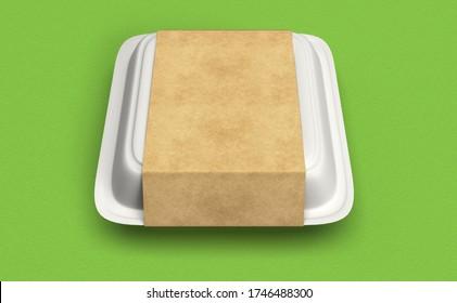 Food Box Mockup Design 3D Rendering