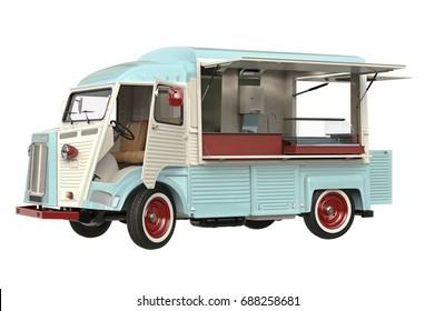 Food car beige eatery with open doors, in light colors. 3D rendering