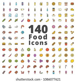 Food colored icon pack raster illustration of drinks, beverage, alcohol, breakfast, seafood, bakery, pastry, cake, fruit, vegetable, meat, fast food, ice cream, sweets.