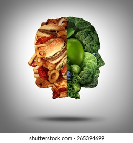 Food concept and diet decision symbol or nutrition choice dilemma between healthy good fresh fruit and vegetables or fast food as a human head with two conflicting sides trying to decide what to eat.