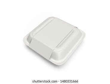 Food container Takeout box 3D Render Mockup White Background