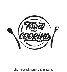 Food and cooking lettering on plate .  illustration.