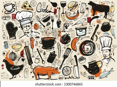 Food Corner Sketch with different doodles based on food business.