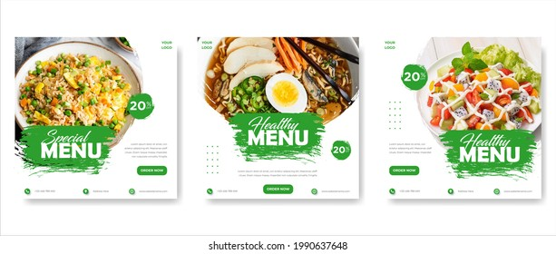Food  culinary Promotion template with photo. Social Media Post. social media post template for food menu promotion banner frame. high resolution.