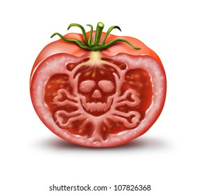 Food danger symbol for people with an allergy and allergic reactions or contaminated agricultural fresh market produce as a single tomato in the shape of a skull and bones hazard warning on white.