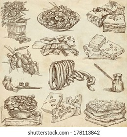 Food and Drinks around the World (set no. 4) - Collection of an hand drawn illustrations. Description: Full sized hand drawn illustrations drawing on old paper.