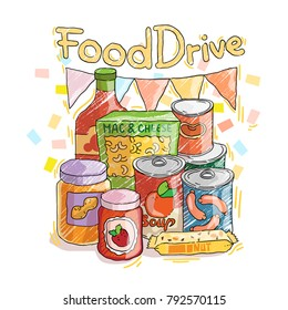 Food Drive non perishable food charity movement illustration