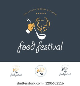 Food festival logo template in different color variants isolated. Restaurant, cafe, catering, food service emblem design. Human hand holding scoop and earth smoke icon illustration.