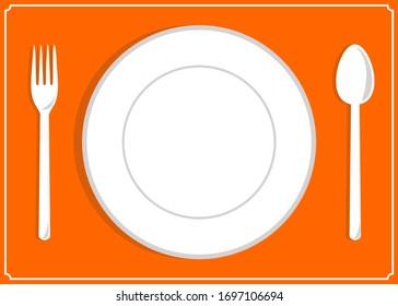 food flat illustration equipment plate, spoon, fork