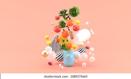 The food floats out of the capsule amidst colorful balls on the pink background.-3d render.