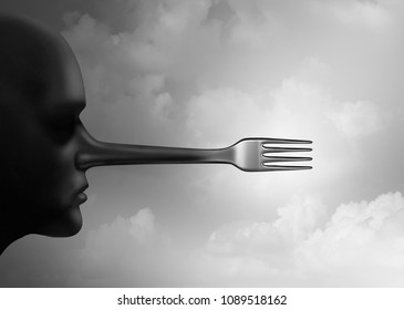 Food fraud concept and fake foods or counterfeit meal as a plate with fraudulent ingredients as a restaurant industry criminal as a 3D illustration.