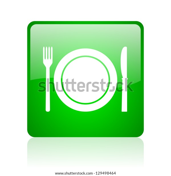 food green square web icon on white background