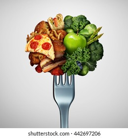 Food health options concept diet decision concept and nutrition choice of healthy good fresh fruit and vegetables or cholesterol fast food with one divided dinner fork with 3D illustration elements.