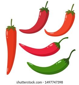 Food icon chilli pepper. Image vegetable red hot chili pepper. Illustration cartoon chilli peppers in flat style