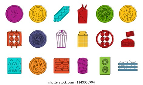 Food icon set. Color outline set of food icons for web design isolated on white background