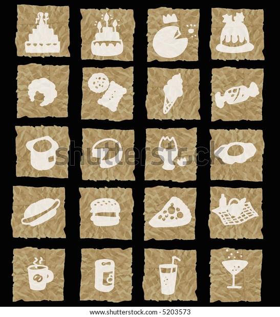 food icons on crumpled paper