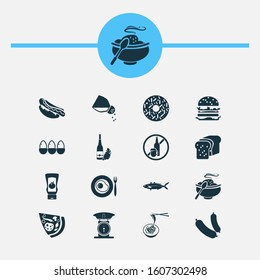 Food icons set with hot meal, loaf, fish and other seafood elements. Isolated illustration food icons.