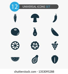 Food icons set with papaya, cocoa beans, grapes and other champignon elements. Isolated  illustration food icons.