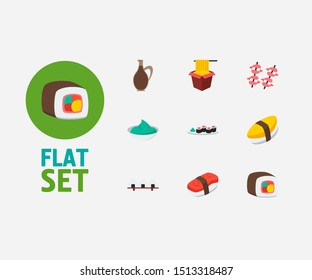 Food icons set. Unagi nigin and food icons with sushi roll, wasabi and sushi set. Set of egg for web app logo UI design.