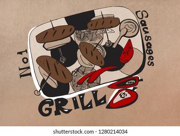 food illustration on kraft paper