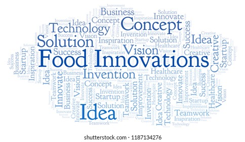 Food Innovations word cloud, made with text only.