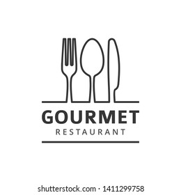Food logo with fork, knife and spoon. Isolated sign. Cutlery under the line with company or restaurant name