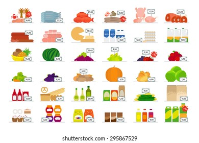 Food market flat icons with price tags
