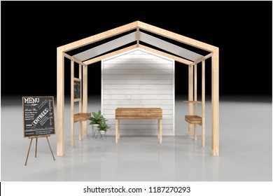Food market kiosk, farmers shop, farm food stall, fruits and vegetables stand 3d rendering