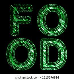 """Food"" on the black background. Illustration."