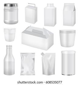 Food pack mockup set. Realistic illustration of 11 food bag modelled mockups for web