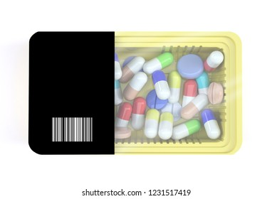 food packaging with many pills inside, 3d illustration