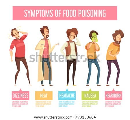 food poisoning signs symptoms men retroのイラスト素材 793150684