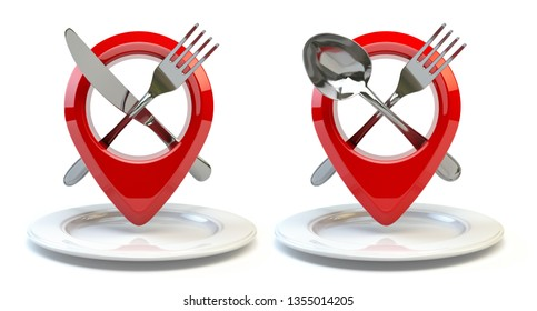 Food, restaurant or cafe location and direction concept. Pin or map point with fork nife and spoon isolated on white. 3d illustration