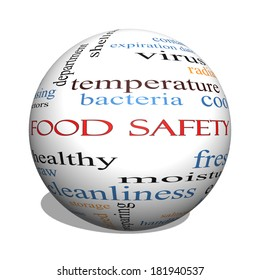 Food Safety 3D sphere Word Cloud Concept with great terms such as hazards, e coli, cooking and more.