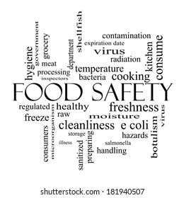 Food Safety Word Cloud Concept in black and white with great terms such as hazards, e coli, cooking and more.