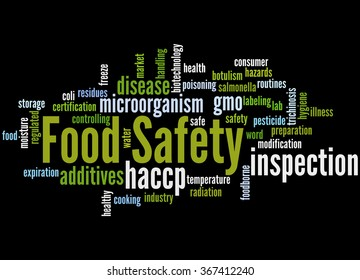 Food Safety, word cloud concept on black background.