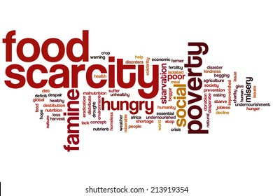 Food scarcity concept word cloud background