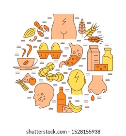 Food sensitivity round concept poster template in line style. Banner with allergy symptoms and products symbols.