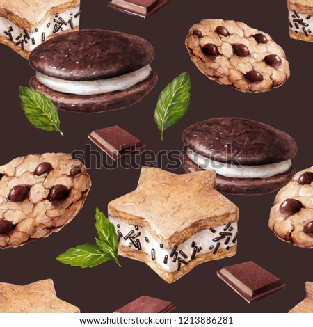 Food Sketch Beautiful Delicious Pastry Desserts Stock Illustration
