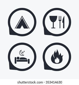 Food, sleep, camping tent and fire icons. Knife, fork and wineglass. Hotel or bed and breakfast. Road signs. Flat icon pointers.