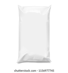 Food snack pillow Realistic package. Polyethylene packing of goods. Mock up for brand template. 3D illustration.