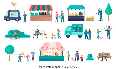 Food Street Fair concept illustration, Family Festival Poster and banner. Bakery, Vegetable Stand, Drinks Kiosks Offer Different Meals, Family Spare Time, Weekend.