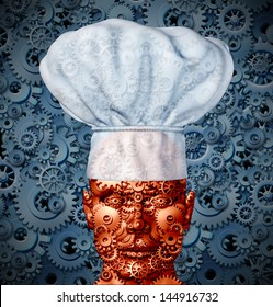Food technology and nutrition processing concept with a man like robot made of gears and cog wheels wearing a chef hat as a symbol of modern cooking and future cuisine.