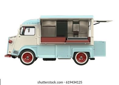 Food truck beige eatery with open doors, side view. 3D rendering
