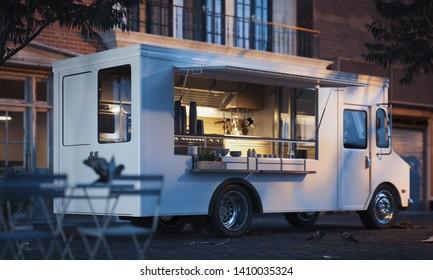 Food truck with detailed interior on street. Takeaway food. 3d rendering
